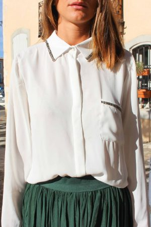 chemise blanche perles col
