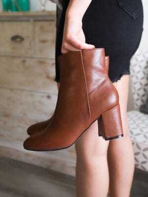 Bottines camel jupe